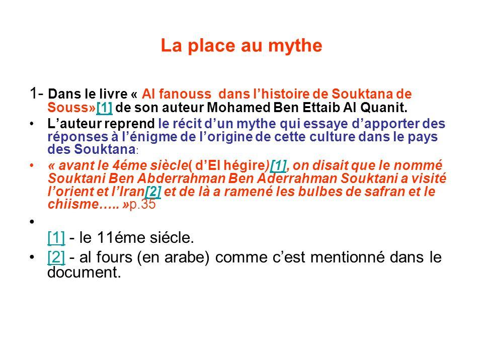 La place au mythe 1- Dans le livre « Al fanouss dans l'histoire de Souktana de Souss»[1] de son auteur Mohamed Ben Ettaib Al Quanit.